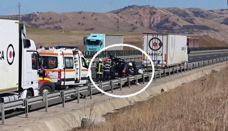 VIDEO FOTO – Accident mortal pe autostrada A1 între Sibiu și Deva. Doi cetățeni bulgari au murit