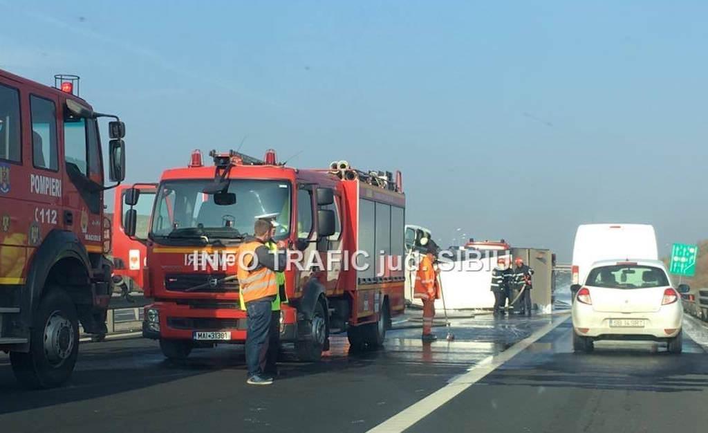 accident autostrada a1 sibiu 2