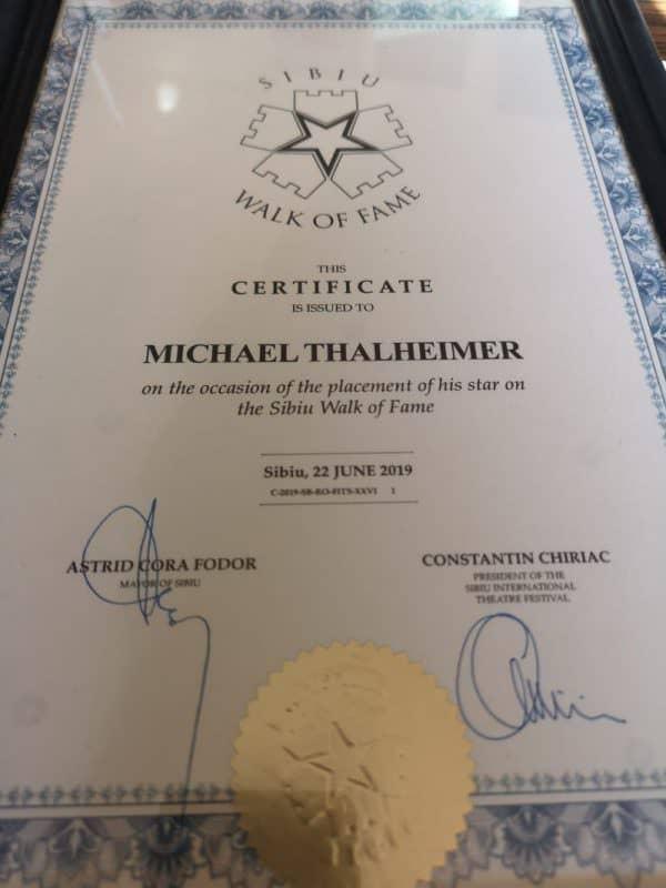 Certificat Aleea Celebritatilor