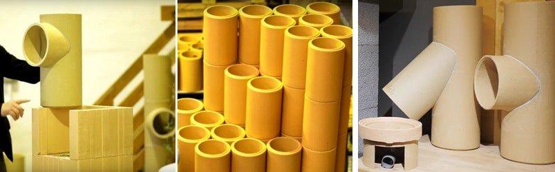 5 tuburi ceramice horn izolat