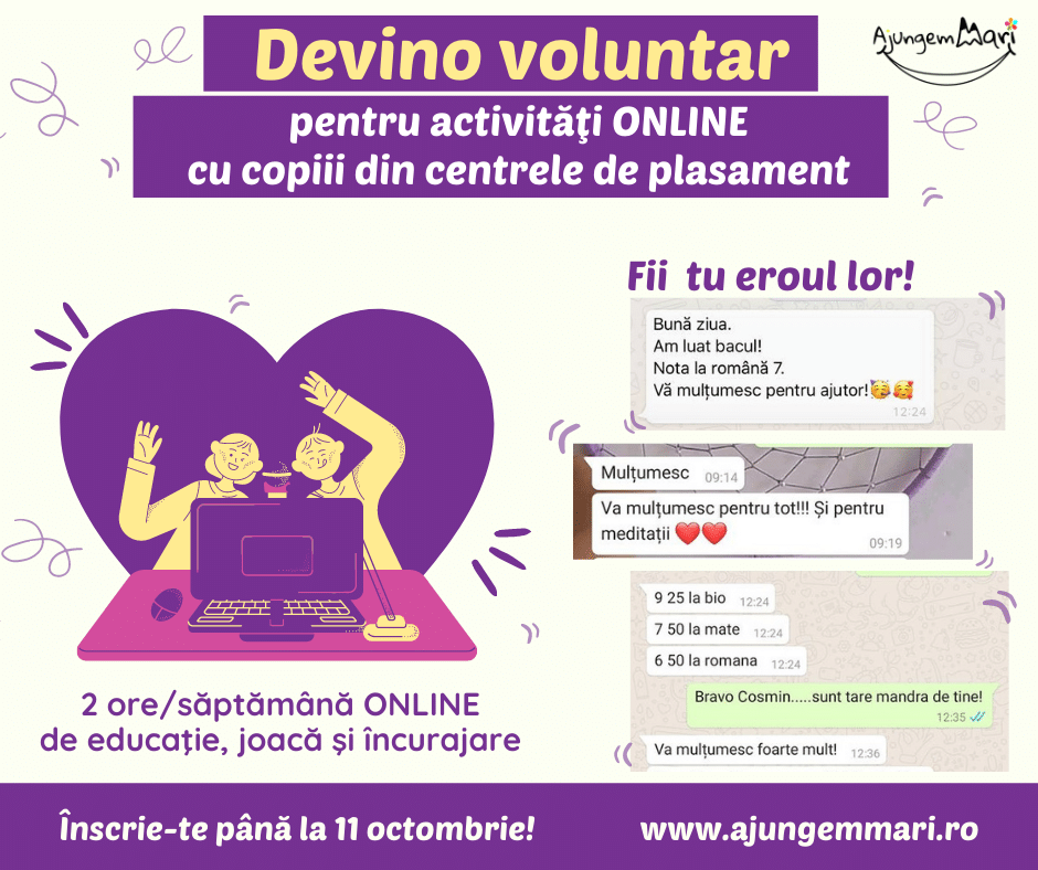 Apel la voluntariat online pentru copiii institutionalizati
