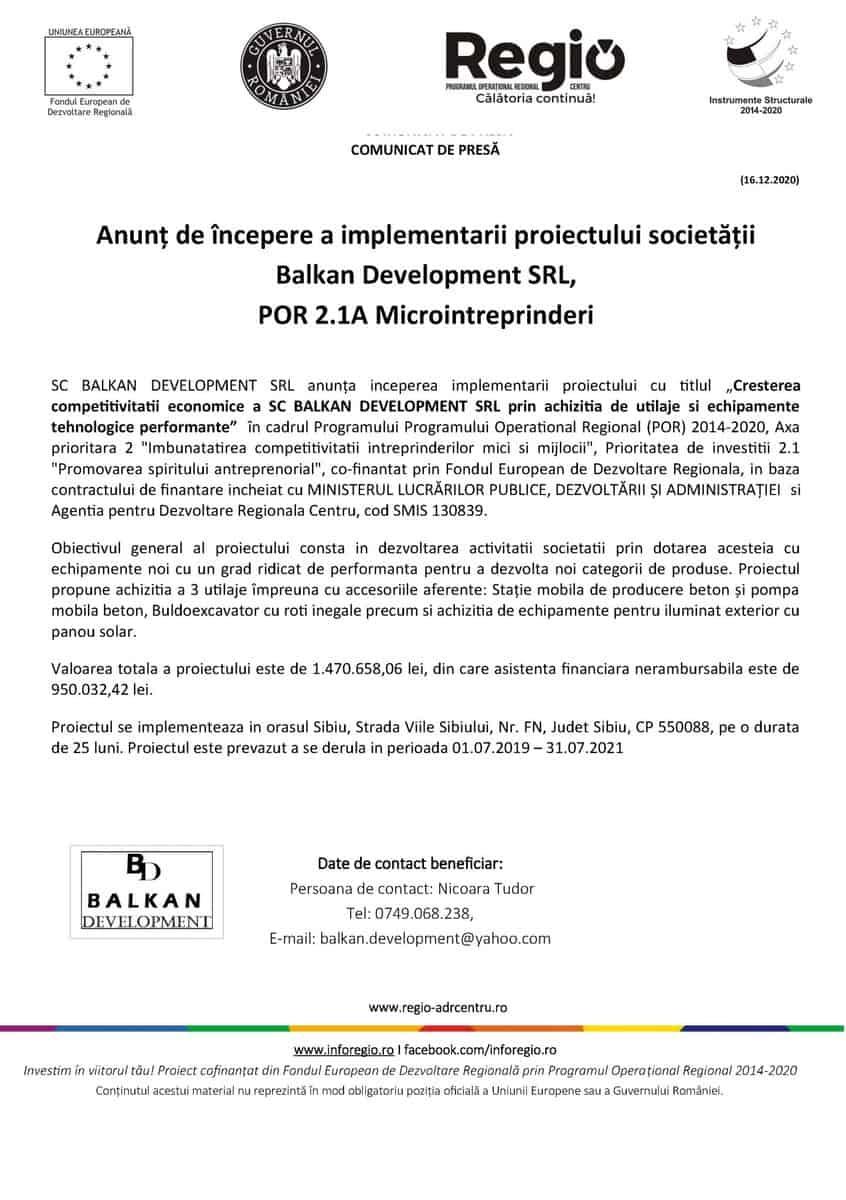 Comunicat de presa monocrom Balkan Development incepere 16 scaled