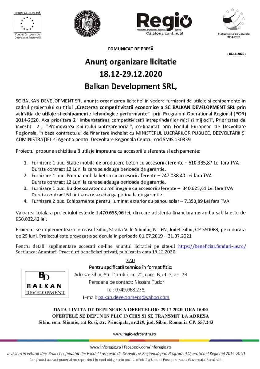 Comunicat de presa monocrom Balkan Development licitatie scaled