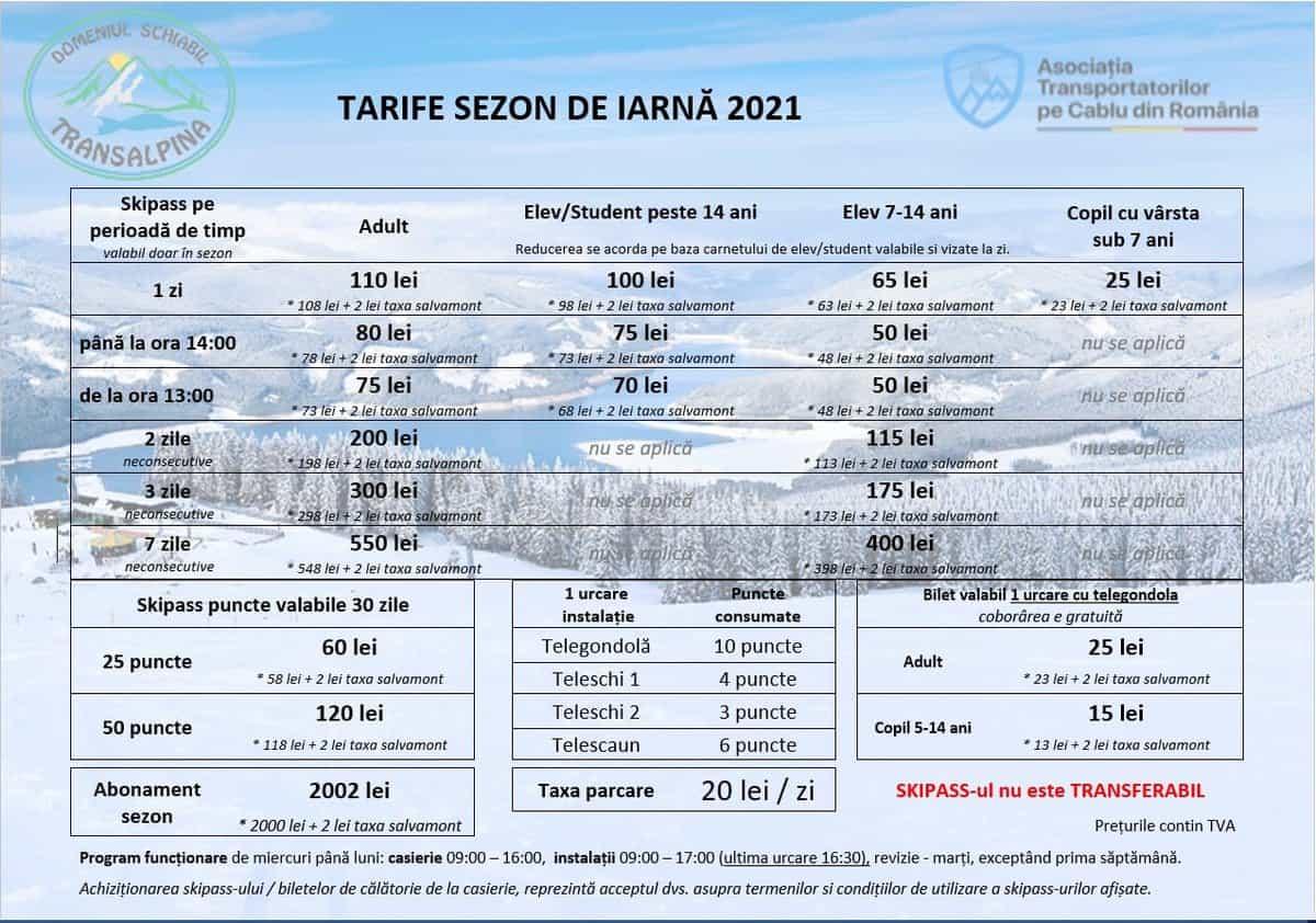 tarife preturi transalpina ski